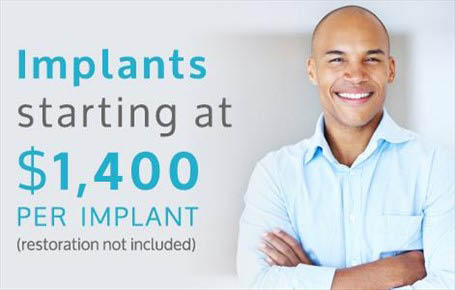 Tooth implants at affordable prices sign