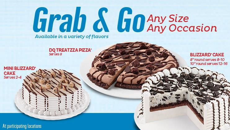 Grab n go frozen cakes at Dairy Queen.