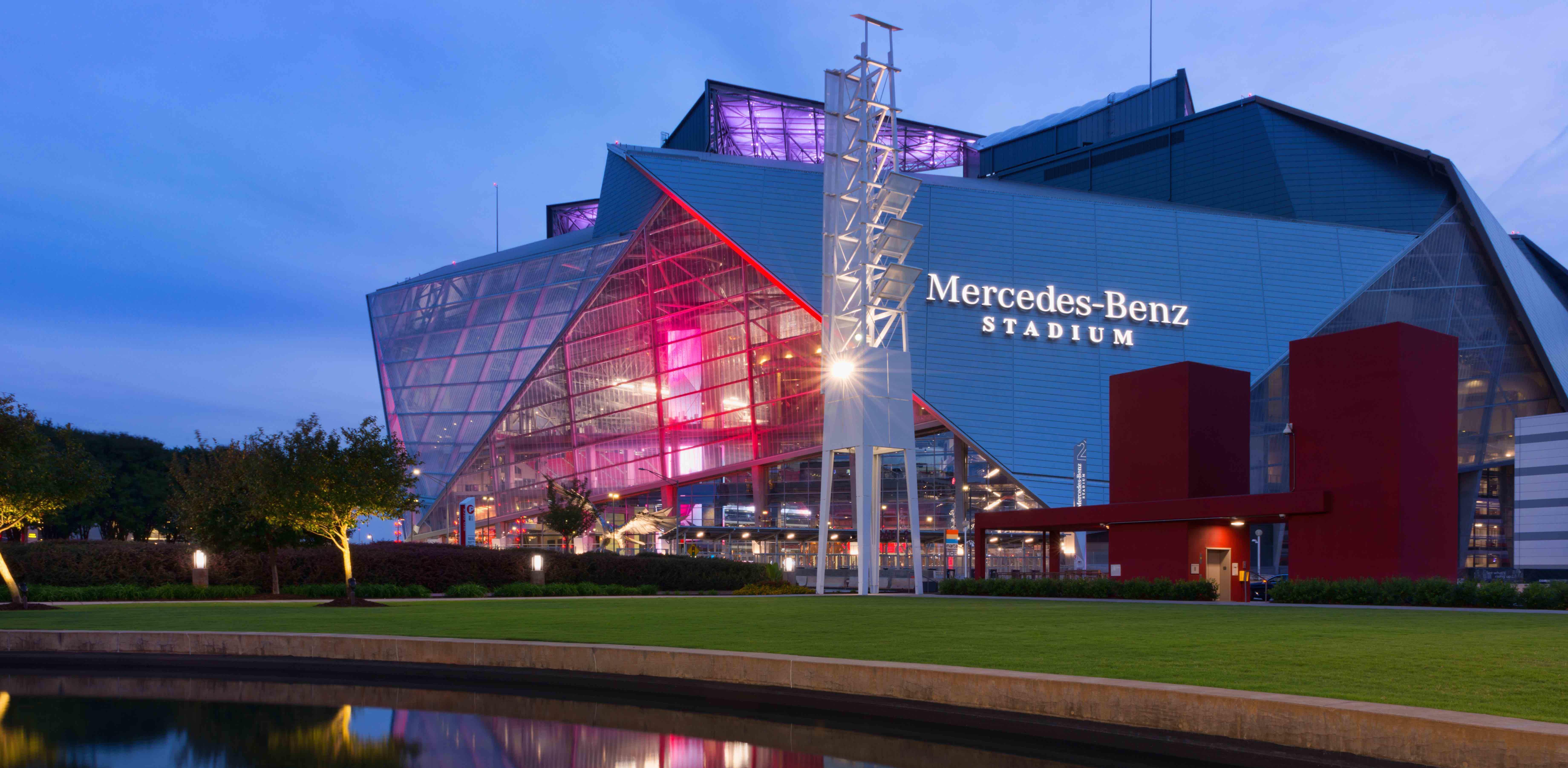 Outside view of Mercedes-Benz Stadium, Atlanta, GA
