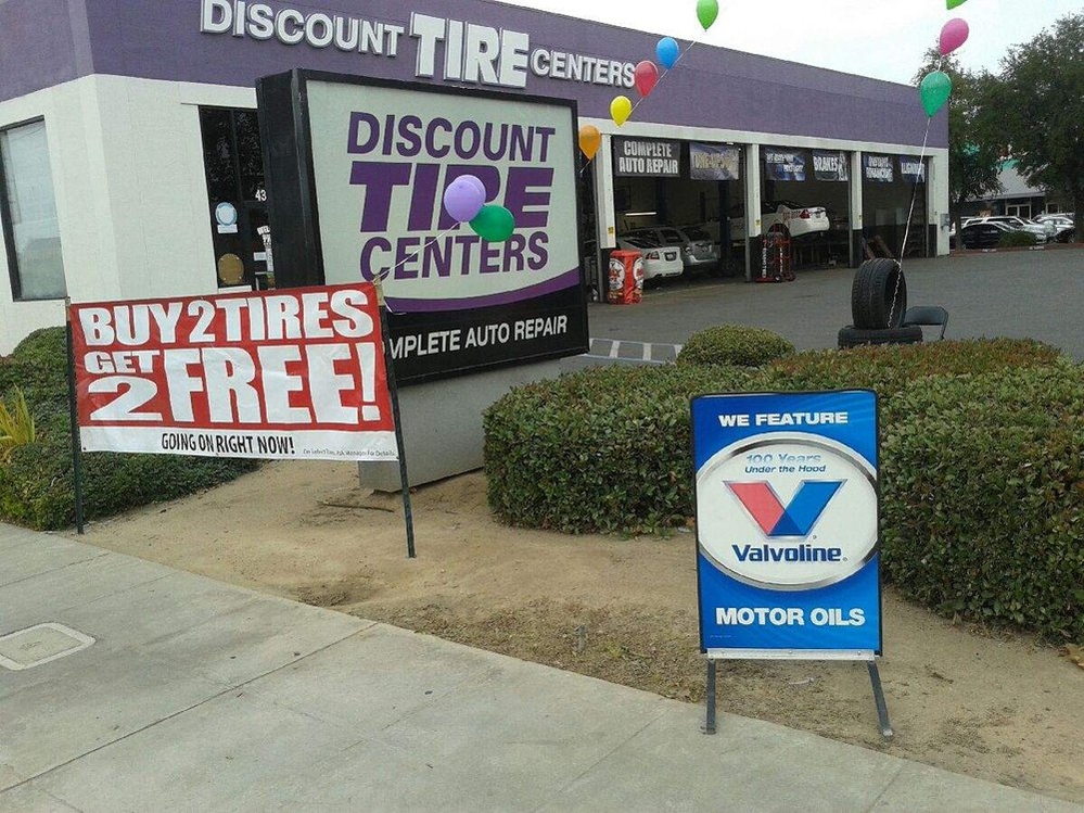 storefront; get Michelin, Goodyear, Firestone, Cooper, Dunlop and other quality tires at Discount Tire Centers in Orange County California