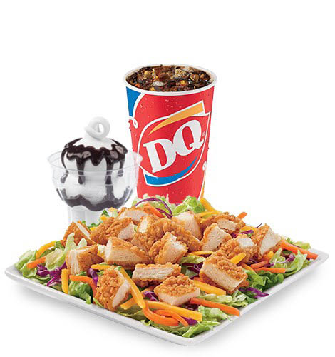 Crispy Chicken Salad, drink and a sundae - Crispy Chicken Salad $5 Buck Lunch from Dairy Queen in Edmonds, Washington - Dairy Queen coupons near me - Dairy Queen near me