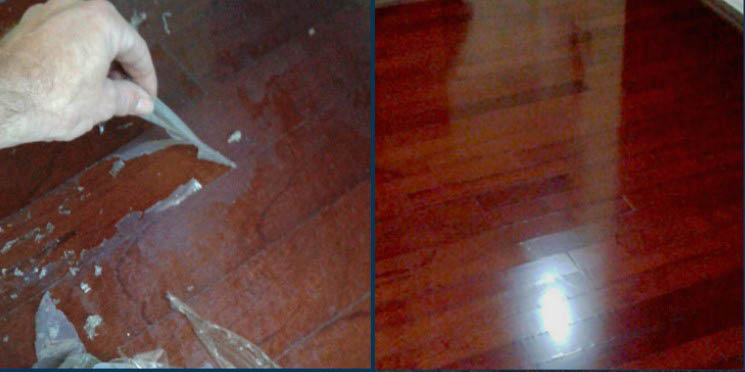 Before and after photo of dirty and clean hardwood floor