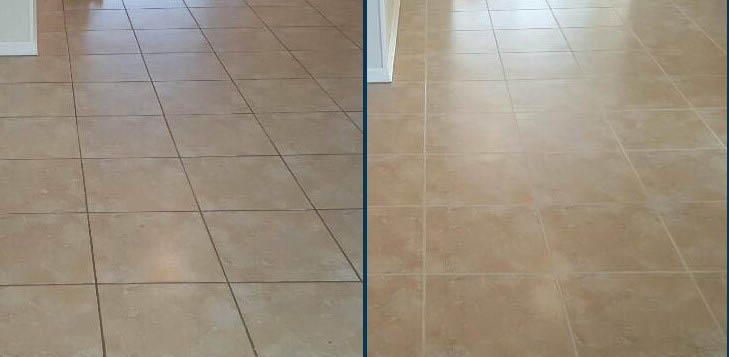 Dirty before, clean after tile and grout floor