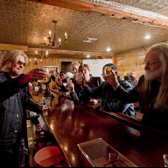 people at the bar enjoying happy hour at Daryl's House Club in Pawling