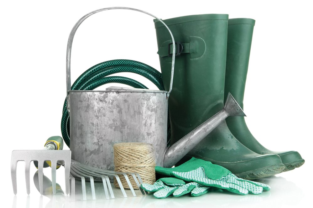 boots, watering can, gardening supplies