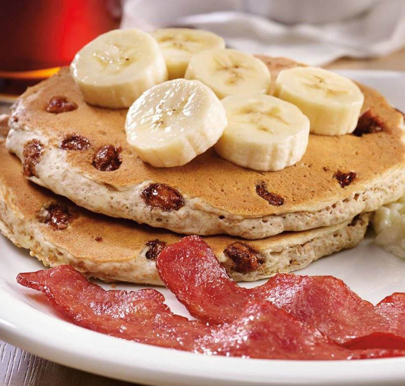 Blueberry pancakes with bananas at Dennys