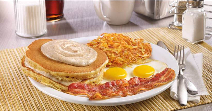 Grand Slam at Dennys with bacon, eggs and homefries.