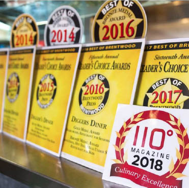 Reader's Choice Awards chose Digger's Diner in Brentwood, CA