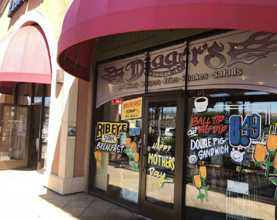 Exterior of Digger's Diner in Brentwood