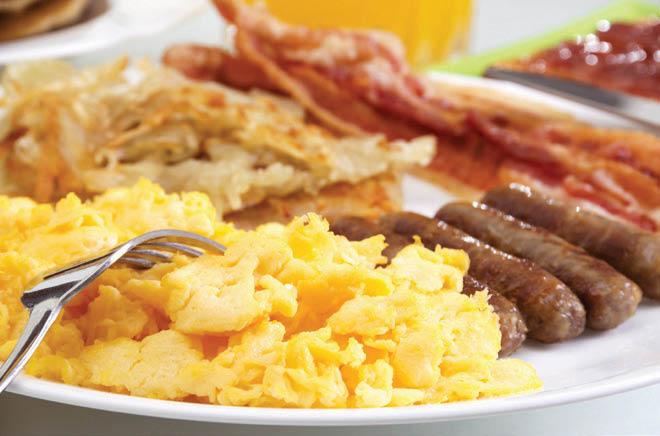 full breakfast; scrambled eggs, sausage, bacon