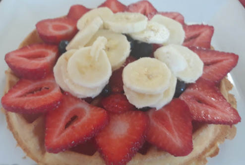 Waffles and fruit at Double S Diner in Wantage NJ