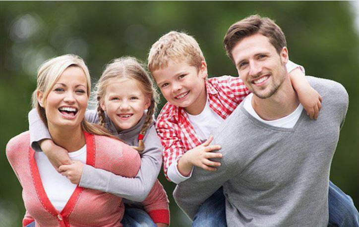 Family with healthy, white teeth