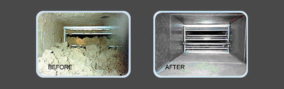 Before & after duct cleaning comparison