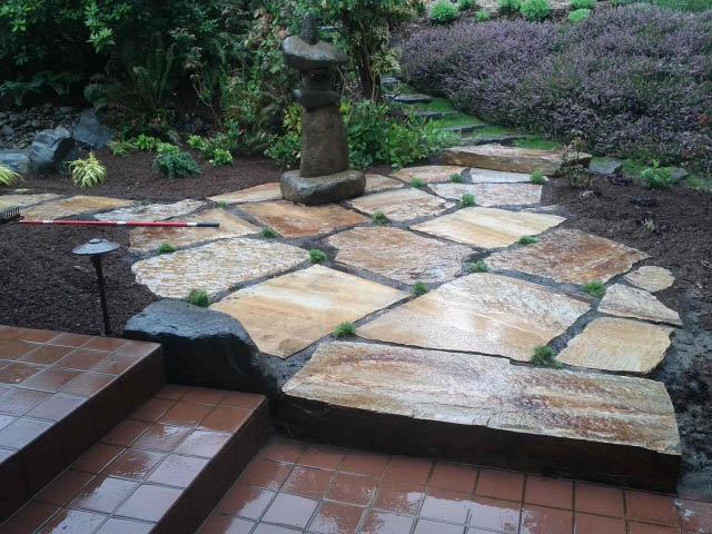 Rock slabs - rockery design - backyard rock design - E & B Landscaping - Lakewood, WA - Pierce County
