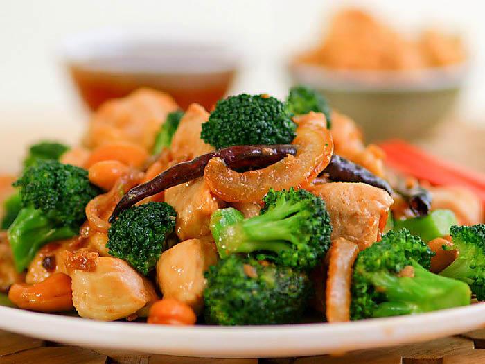 Fresh cut broccoli and seafood