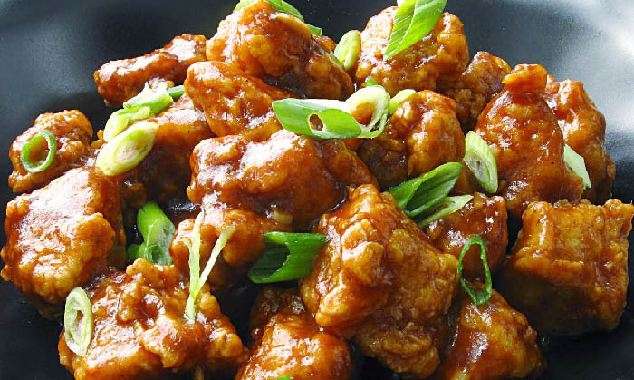Tender chicken with sauce and fresh green onions