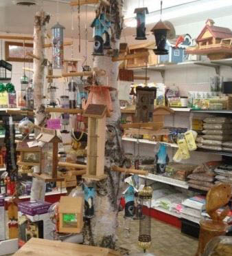 photo of bird feeders from Ed Bock's Feeds & Stuff in Pinckney, MI and Bock's Big Acre in Brighton, MI