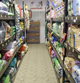 photo of store aisle at Ed Bock's Feeds & Stuff in Pinckney, MI and Bock's Big Acre in Brighton, MI