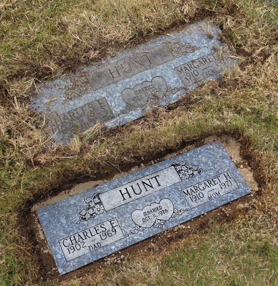 Edgewood Monuments before and after monument marker cleaning & restoration - Puyallup, WA