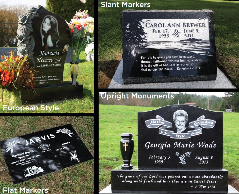 Edgewood Monuments - based in Puyallup, WA- custom headstones and grave markers - upright monuments - slant markers - flat markers