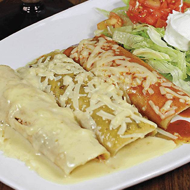 Trio of Mexican recipe enchiladas