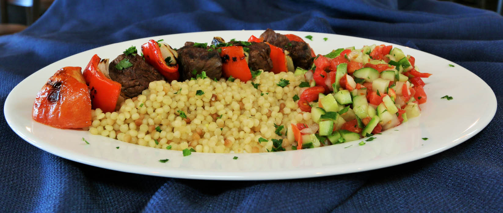 Grass-fed beef kabob and couscous in Birmingham, AL