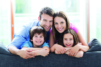 Family in comfort-controlled environment