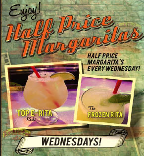 Half Price Margaritas for Wednesdays' Happy Hour