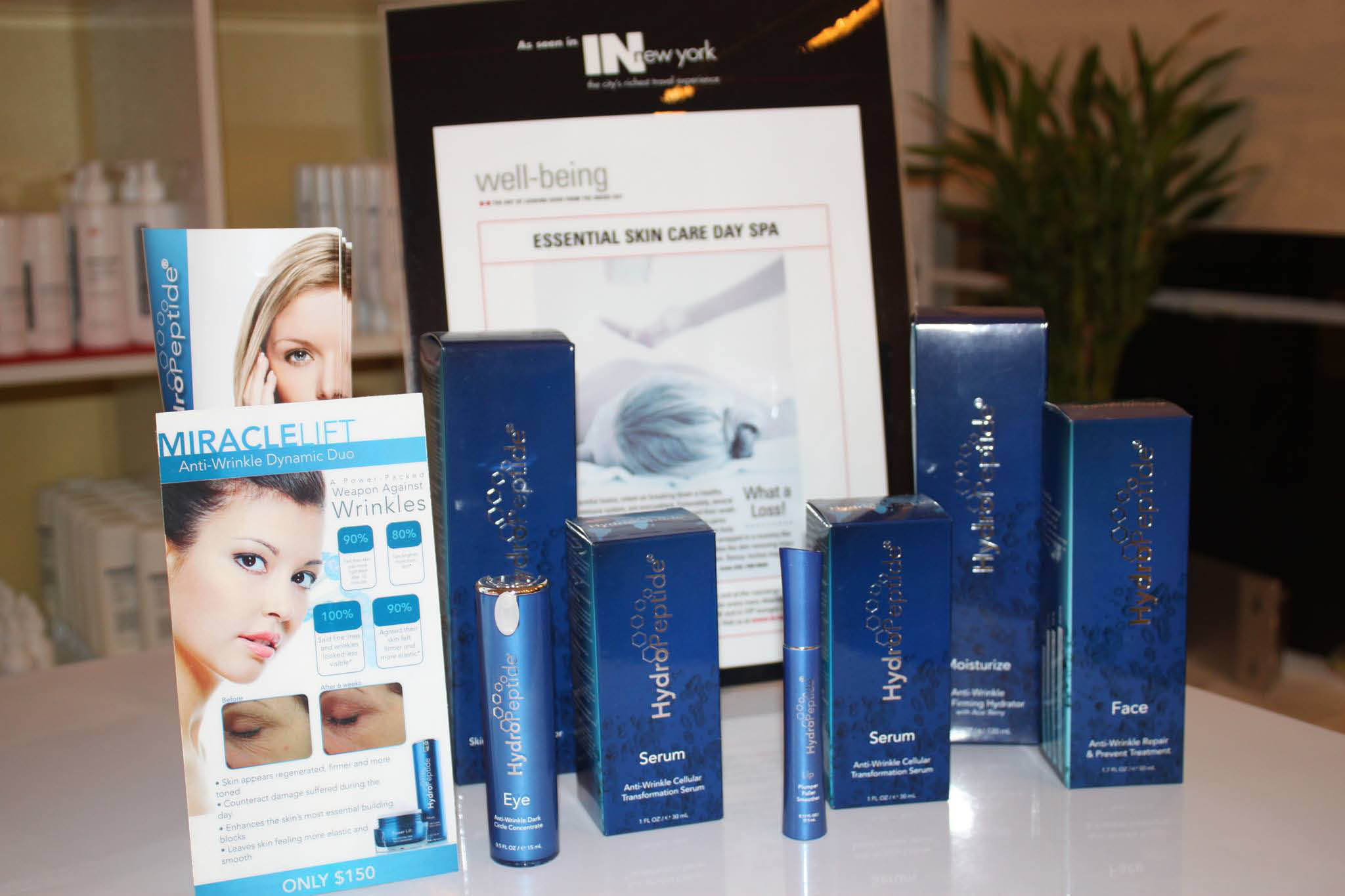 Essential Day Spa uses the HydroPeptide line of beauty products