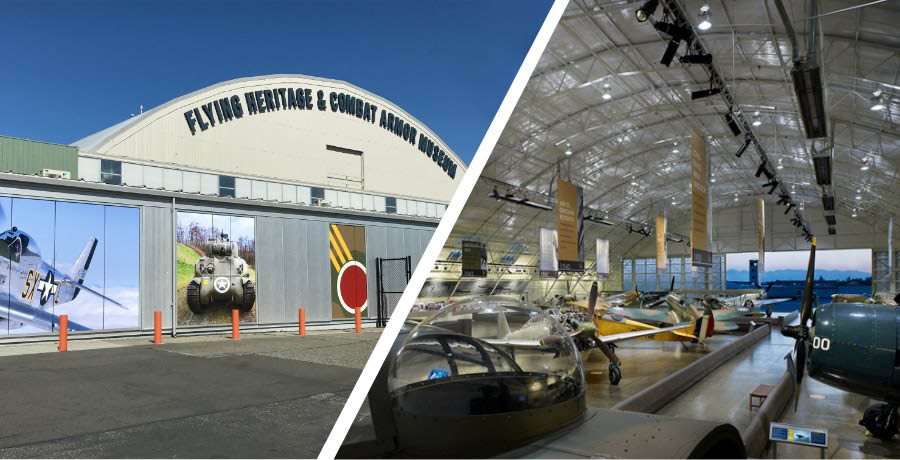 Outside and inside the Flying Heritage & Combat Armor Museum in Everett, Washington