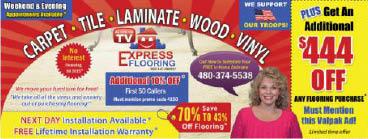 Valpak coupon image. Redeem Express Home Services Flooring coupons; Arizona