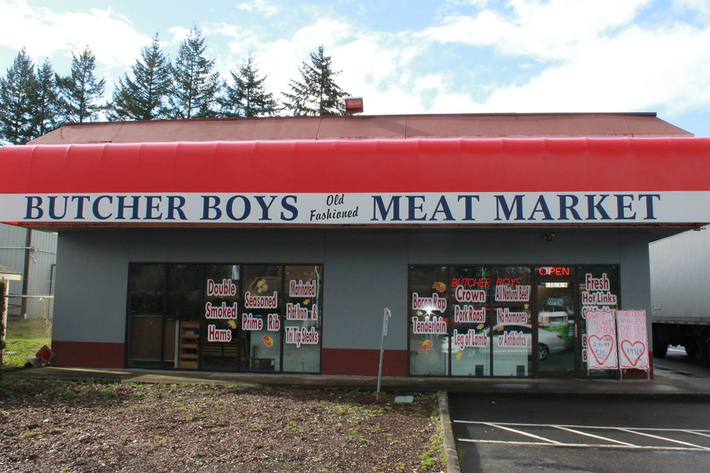 Exterior of The Butcher Boys Beef Outlet in Puyallup, WA - grass fed beef - no hormones or antibiotics