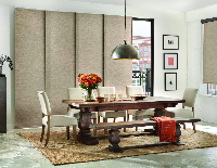 modern dining room with neutral tones and red accents
