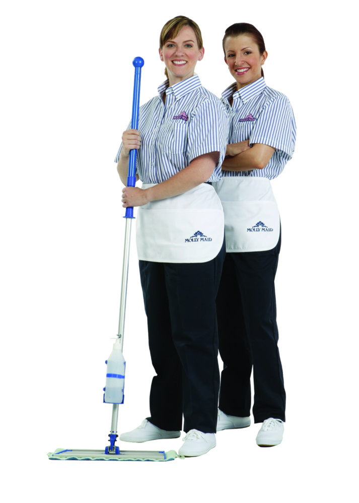 Two female molly maid cleaning professional employees