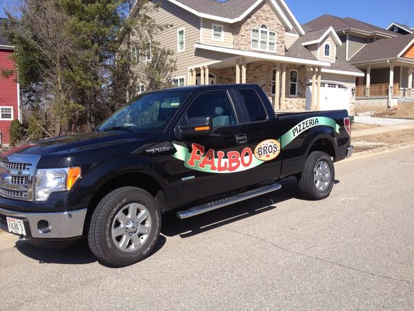 Picture of Falbo Bros Pizza delivery truck near Pewaukee, WI
