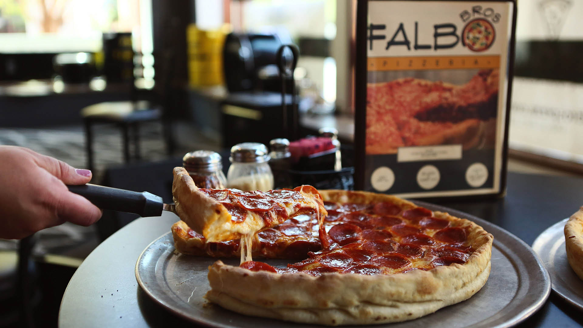 Dine in with us at Falbo Bros Pizzeria at our Monona/McFarland location at 101 River Place