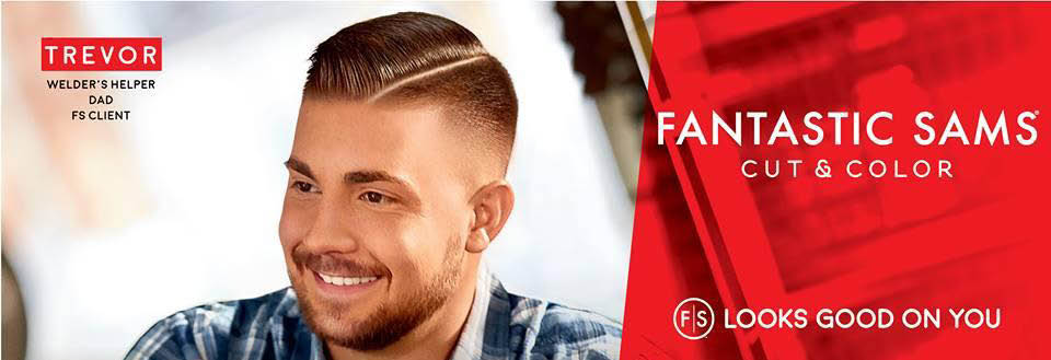 Man with short brown hairstyle parted on the right side; Fantastic Sams men's haircuts Las Vegas