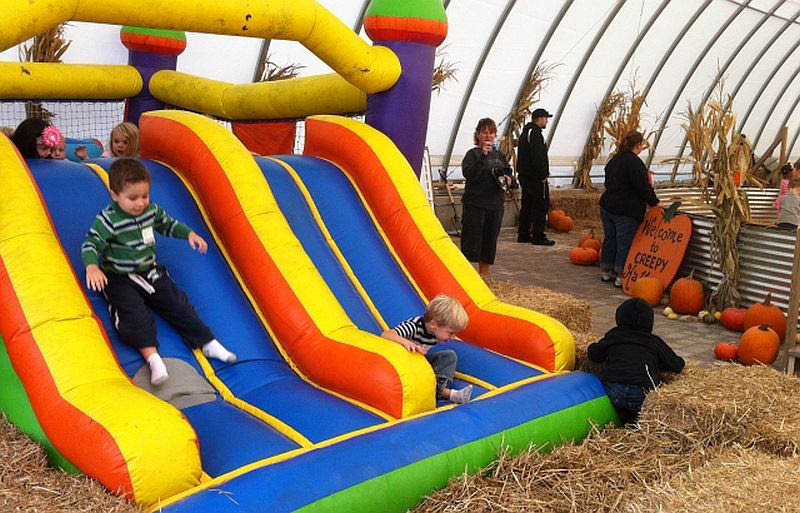 Large 2 lane inflatable slide into the corn pit at Fawn's Fall Festival in Will County.
