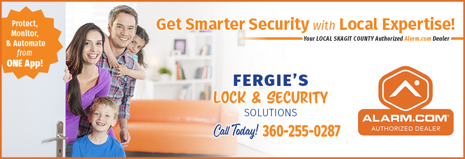 alarm.com alarm dot com authorized dealer fergie lock and security logo
