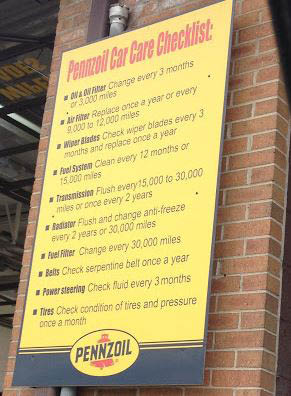 photo of auto service checklist from Ferndale Pennzoil Oil Change Center in Ferndale, MI