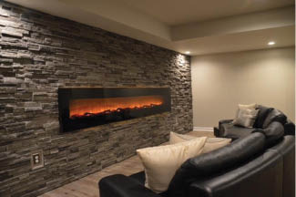 finished cozy basement photo with fireplace
