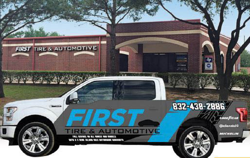 First Tire & Automotive in Katy, TX building and service truck