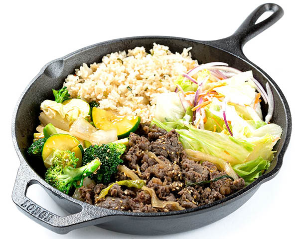 korean pan foods - beef, veggies & rice