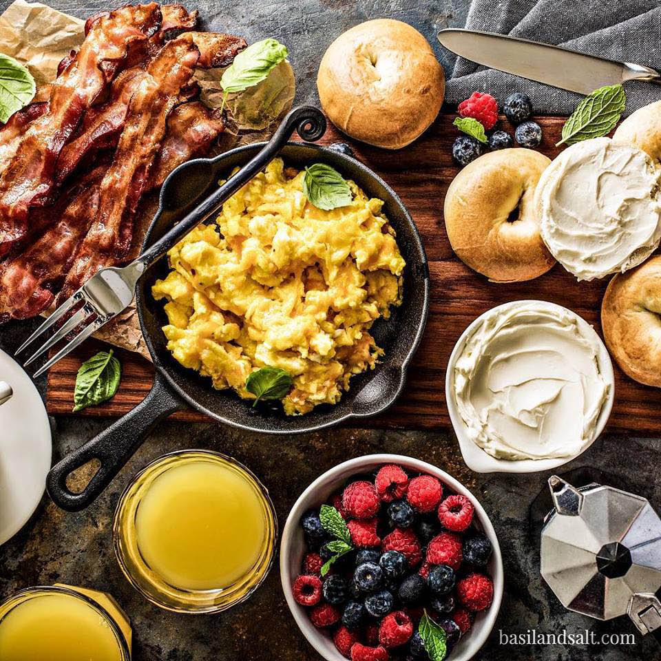 Eggs - bacon - fruit - cream cheese - bagels - from Smith Brothers Farms - food delivery service