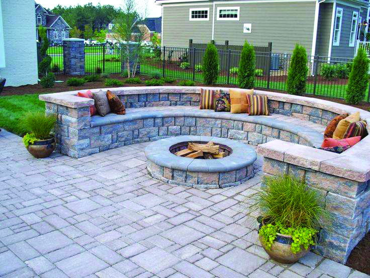 pavers, patio, landscape, firepit