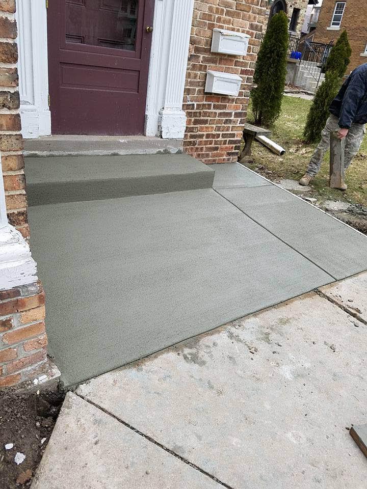 new front step landing from concrete; foundation repair; concrete repair