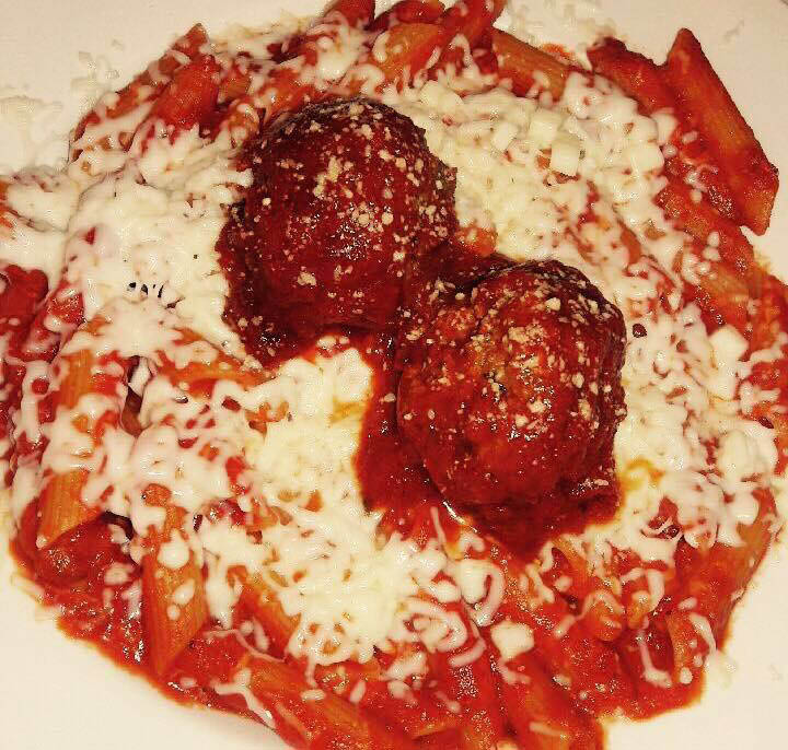 Delicious homemade baked mostaccioli with meatballs from Frankie's Beef & Pasta