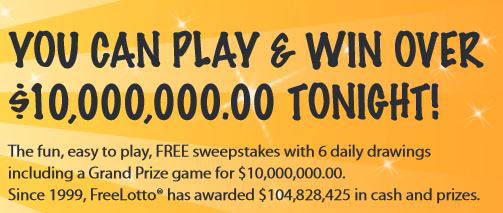 promotional copy: You can plan and win over $10,000,000 tonight; FreeLotto online