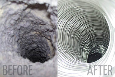 Before and after photos of air duct cleaning by Fuzzy Wuzzy Air Duct Cleaning - Fuzzy Wuzzy Rug Cleaning Co. - Western Washington