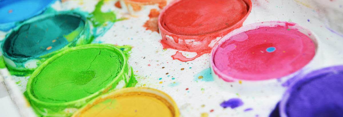 Paint palette with vibrant colors
